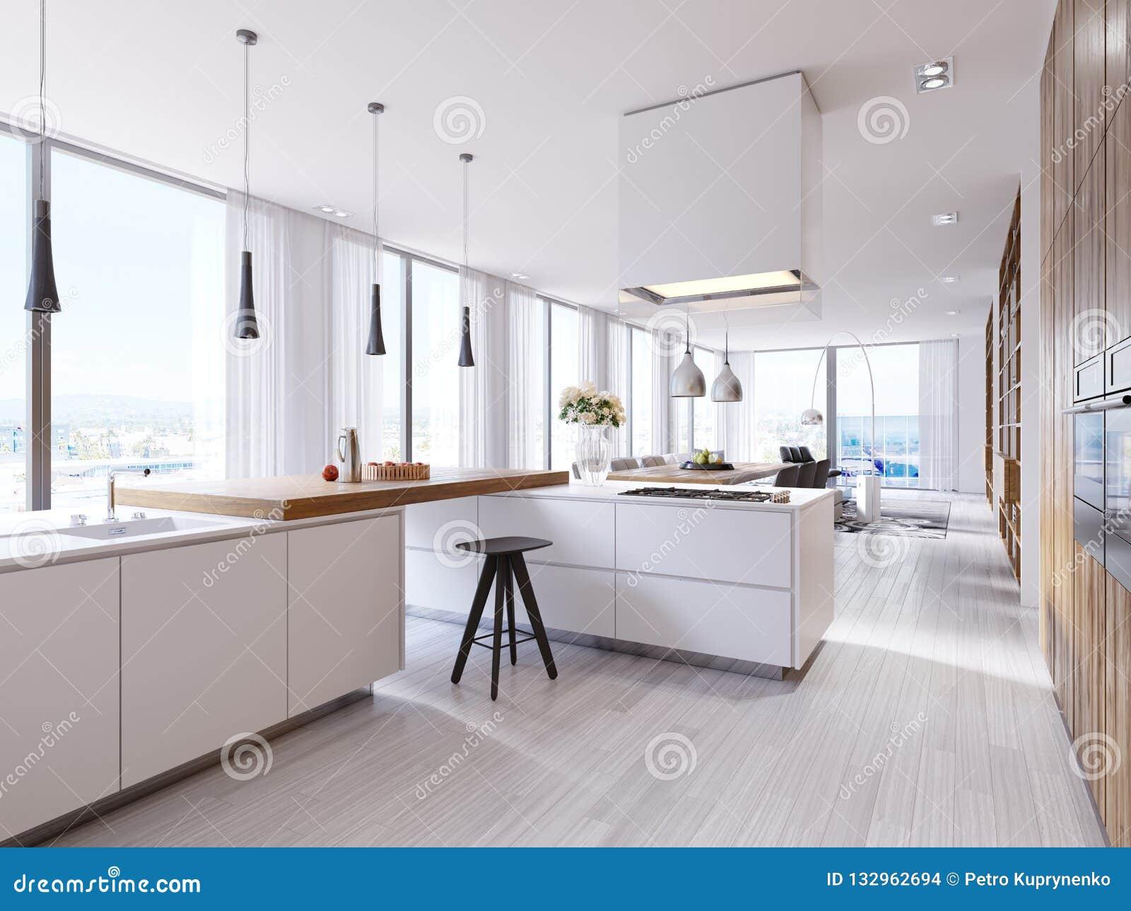 Cucina D\'angolo Bianca Nello Stile Contemporaneo, Con Le ...