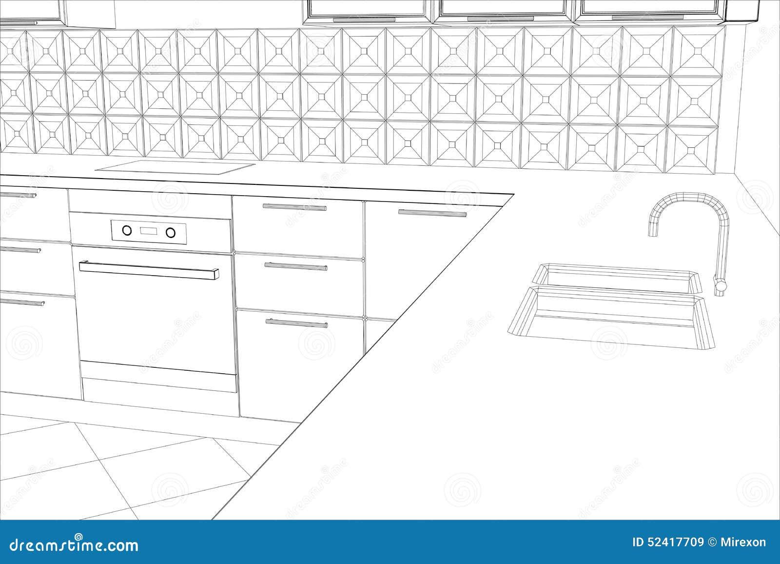 Cucina dell 39 interno di progettazione di schizzo di bstract for Software di progettazione di costruzione di case gratuito