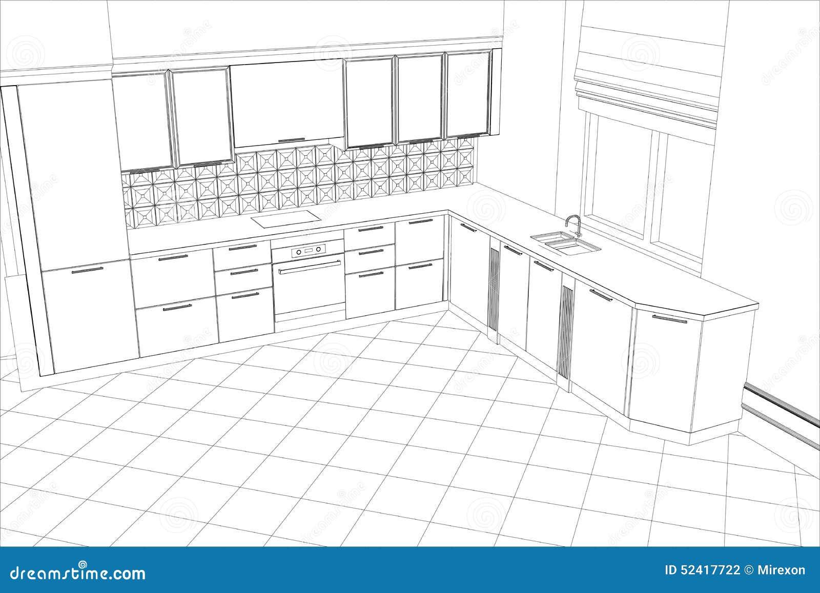 Cucina dell 39 interno di progettazione di schizzo di bstract for Programma per progettare cucina