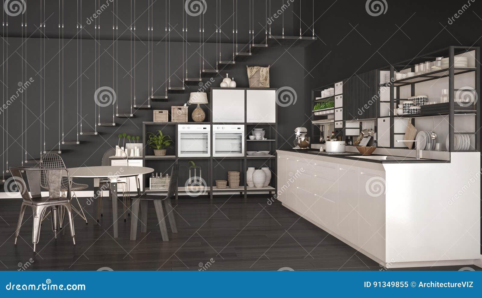 Cucina di legno bianca e grigia minimalista sottotetto con le scale clas illustrazione di - Cucina bianca e legno ...