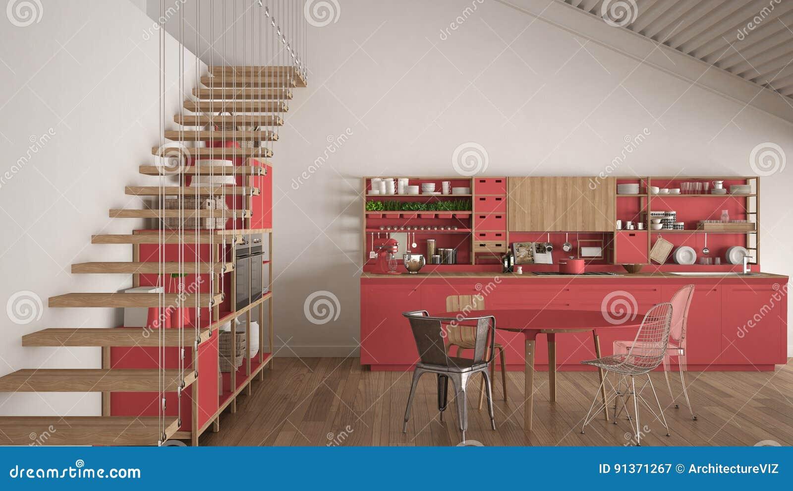 Cucina di legno bianca e rossa minimalista sottotetto con le scale classe illustrazione di - Cucina rossa e bianca ...