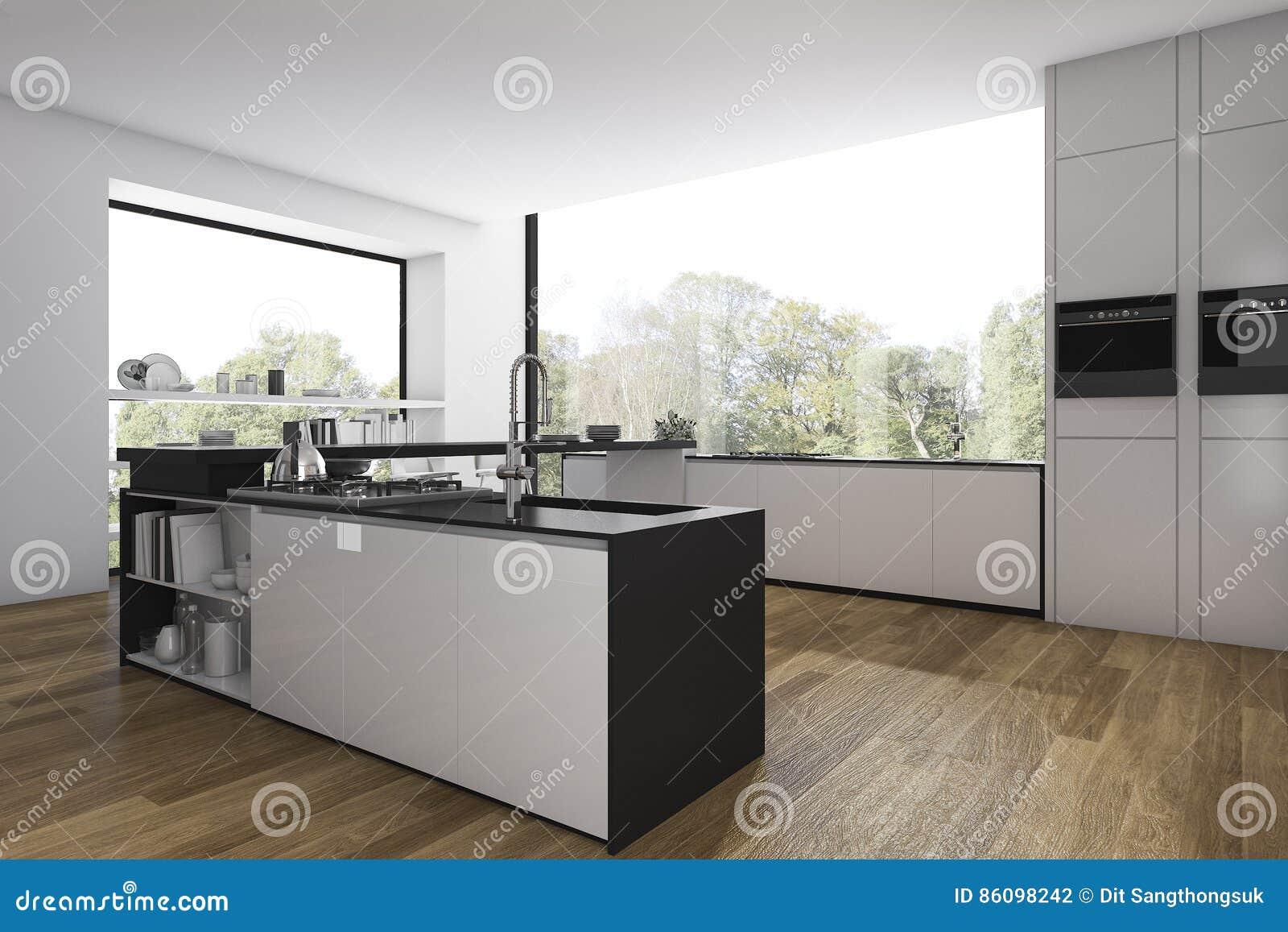 Cucina Di Legno Del Pavimento Della Rappresentazione 3d E Sala Da ...