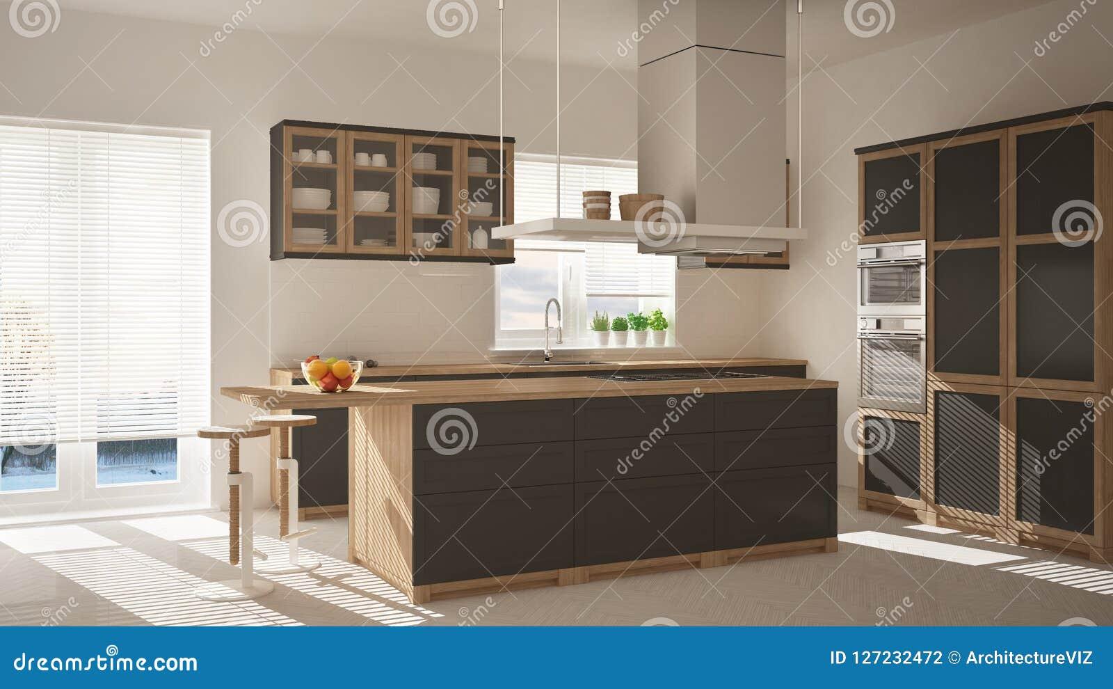 Cucina Di Legno E Grigia Moderna Con L\'isola, I Panchetti E ...