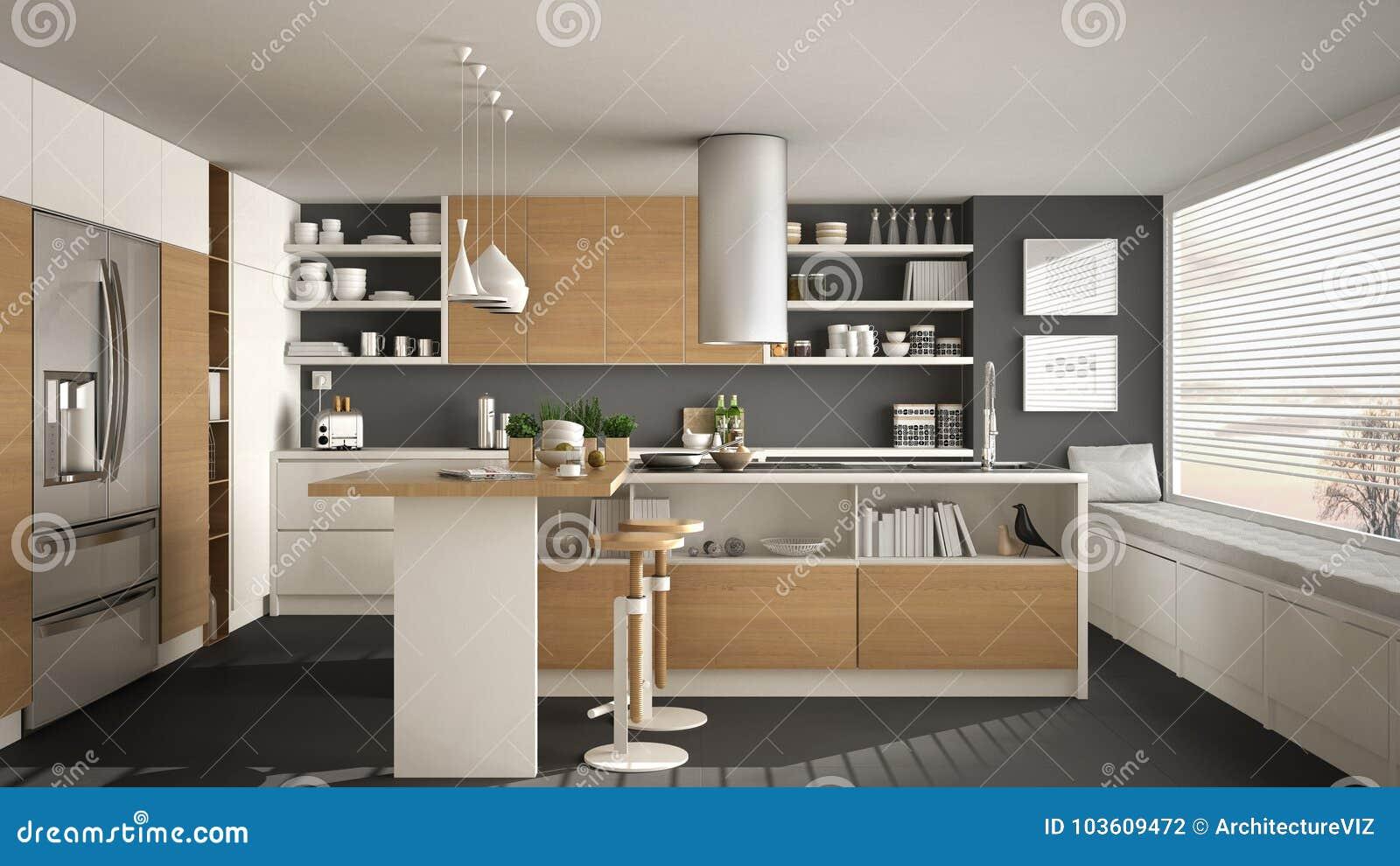 Cucina Di Legno Moderna Con I Dettagli Di Legno E La Finestra ...