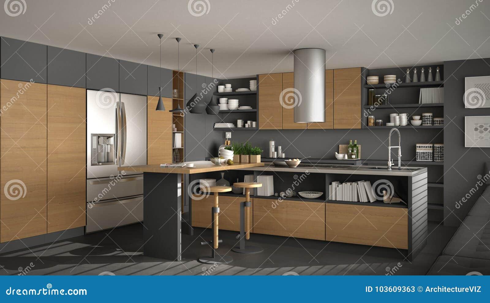 Cucina Di Legno Moderna Con I Minimi Bianchi E Grigi Di ...
