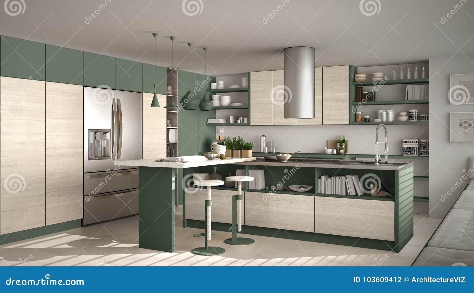 Cucina Legno E Bianco cucina di legno moderna con la minima bianca e verde di