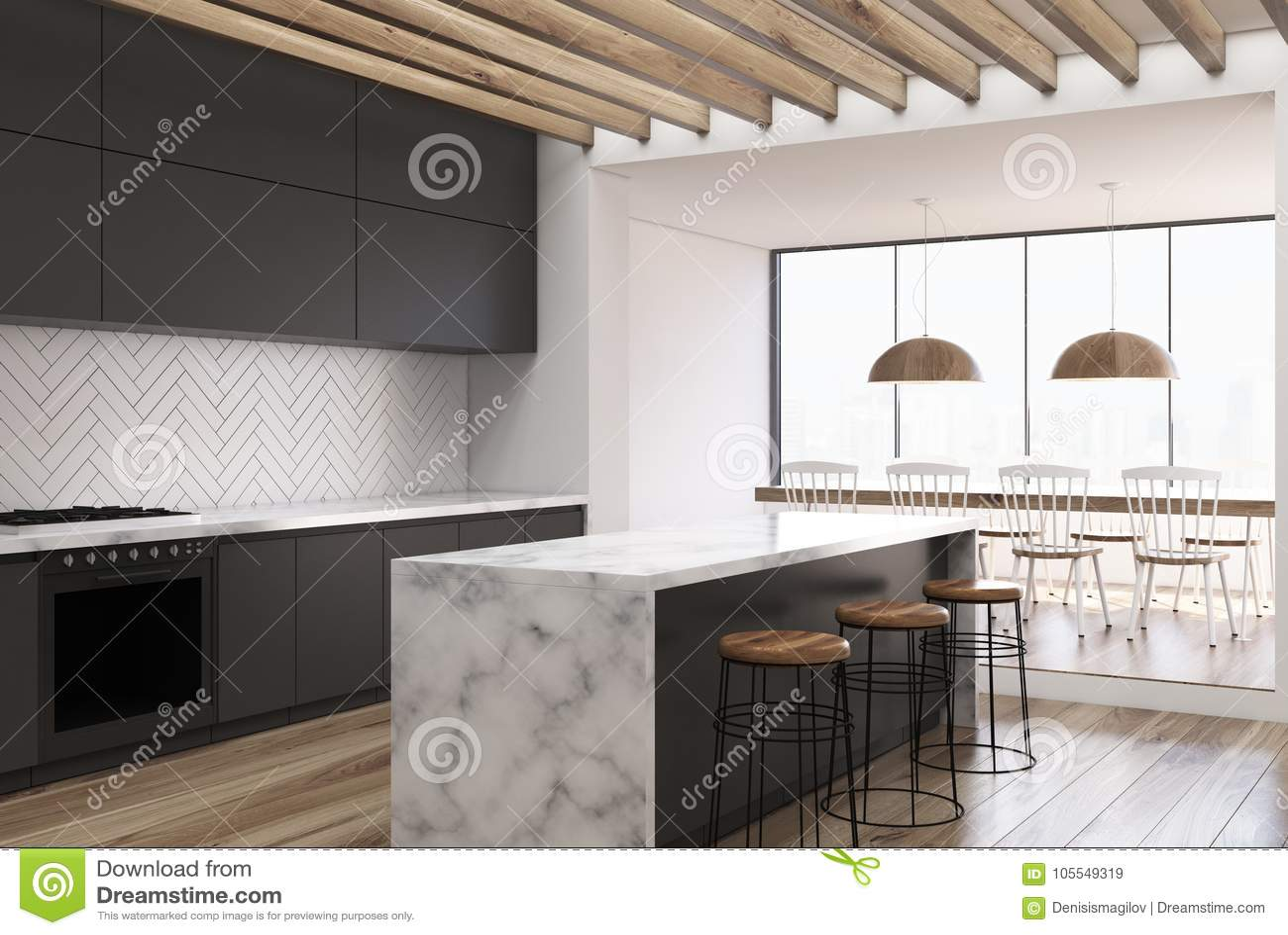 Cucina Di Legno Nera Lato Della Barra Di Marmo Illustrazione Di