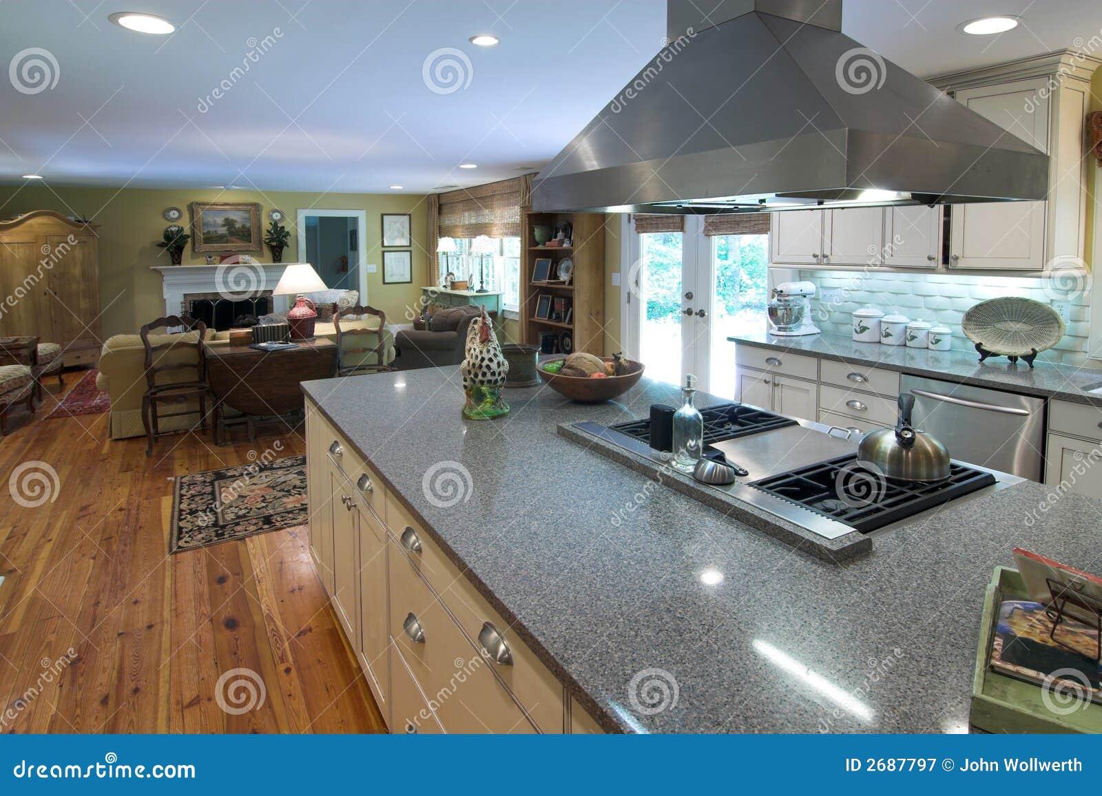 Cucina Di Lusso E Zona Vivente Immagine Stock - Immagine di stanza ...