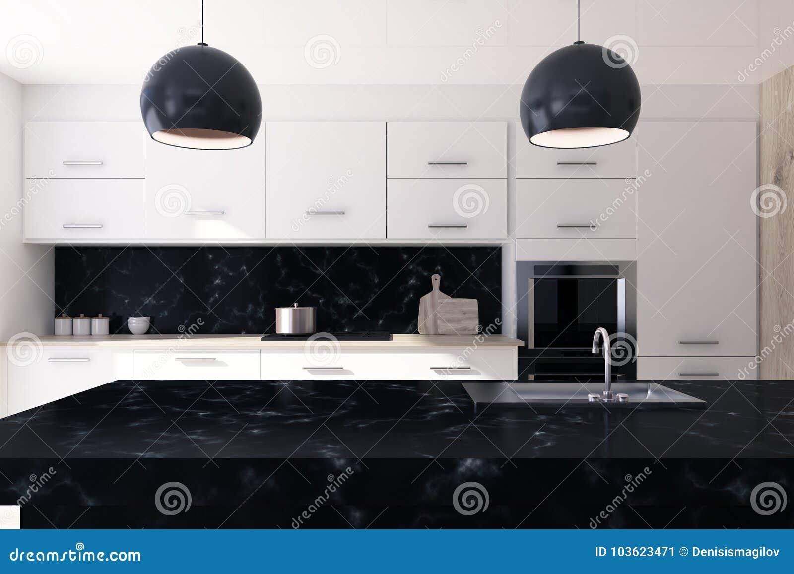Cucina Di Marmo Bianca E Nera Illustrazione di Stock - Illustrazione ...
