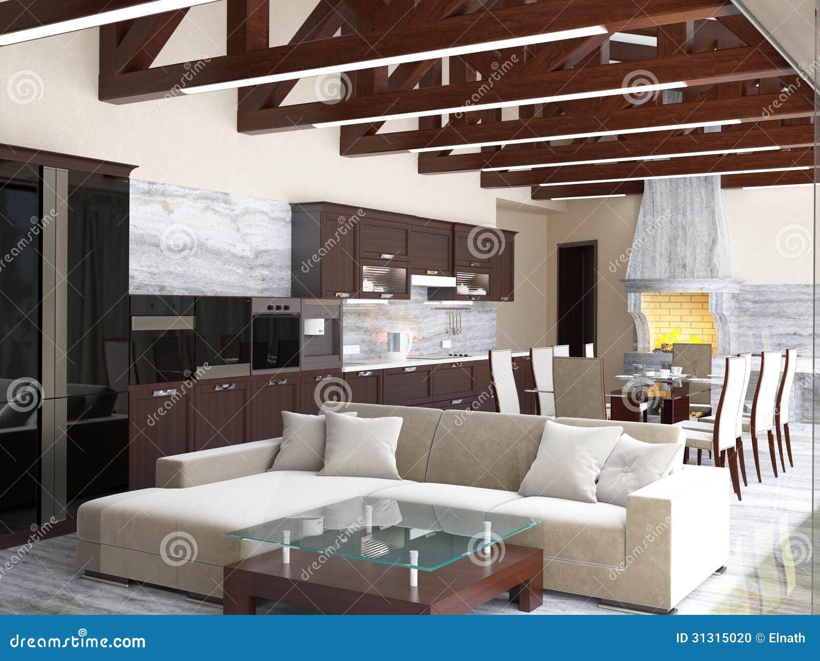 Cucina Di Una Casa Di Campagna. Illustrazione di Stock ...