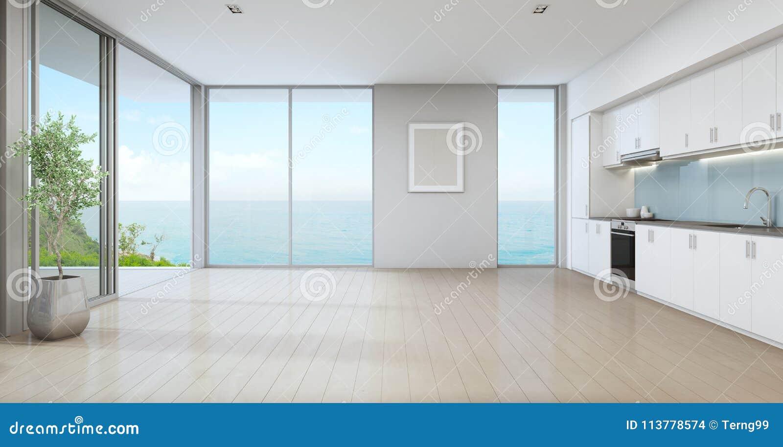 Cucina Di Vista Del Mare Della Casa Di Spiaggia Di Lusso Con La ...