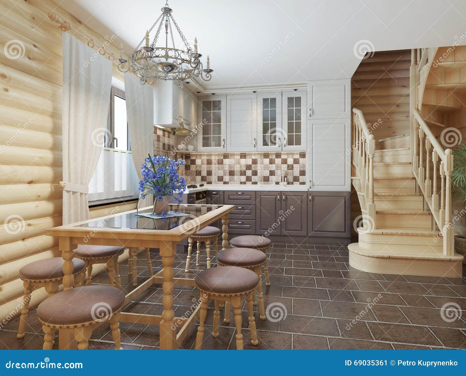 Cucina E Area Pranzante In Una Scala Interna Del Ceppo Al Secon ...