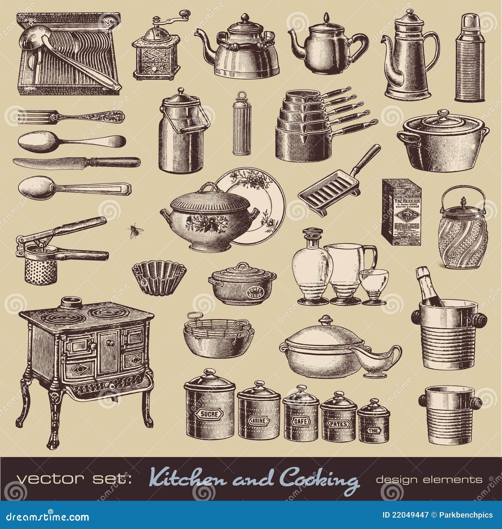 Cucina E Cucinare Gli Elementi Di Disegno Illustrazione Vettoriale ...