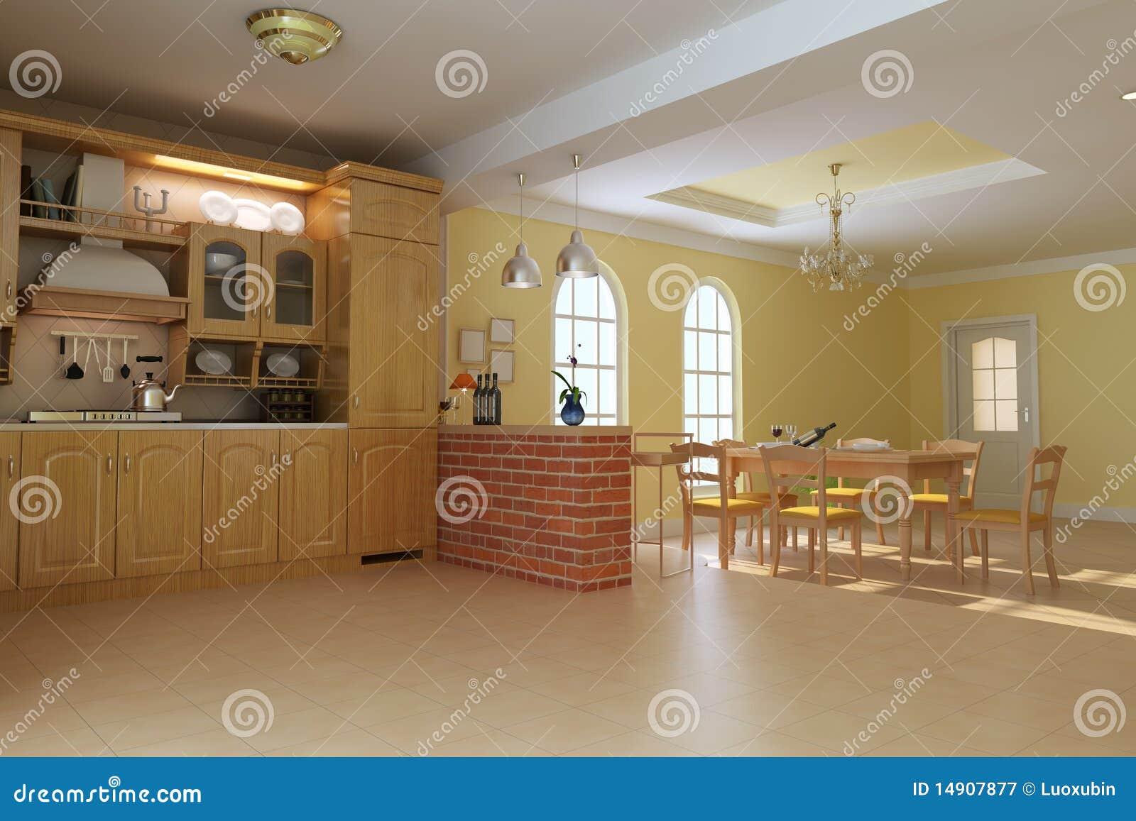 Cucina E Sala Da Pranzo Di Lusso Classiche Illustrazione