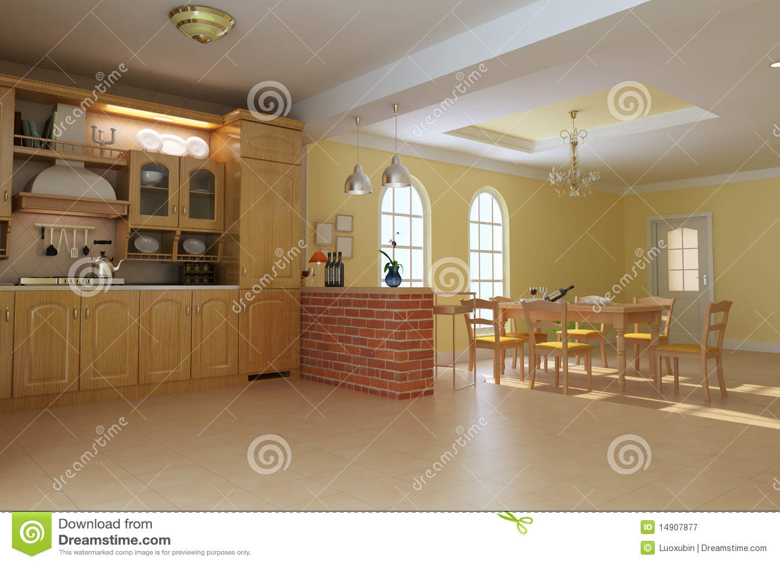 Cucina e sala da pranzo di lusso classiche illustrazione for Cucina e sala insieme
