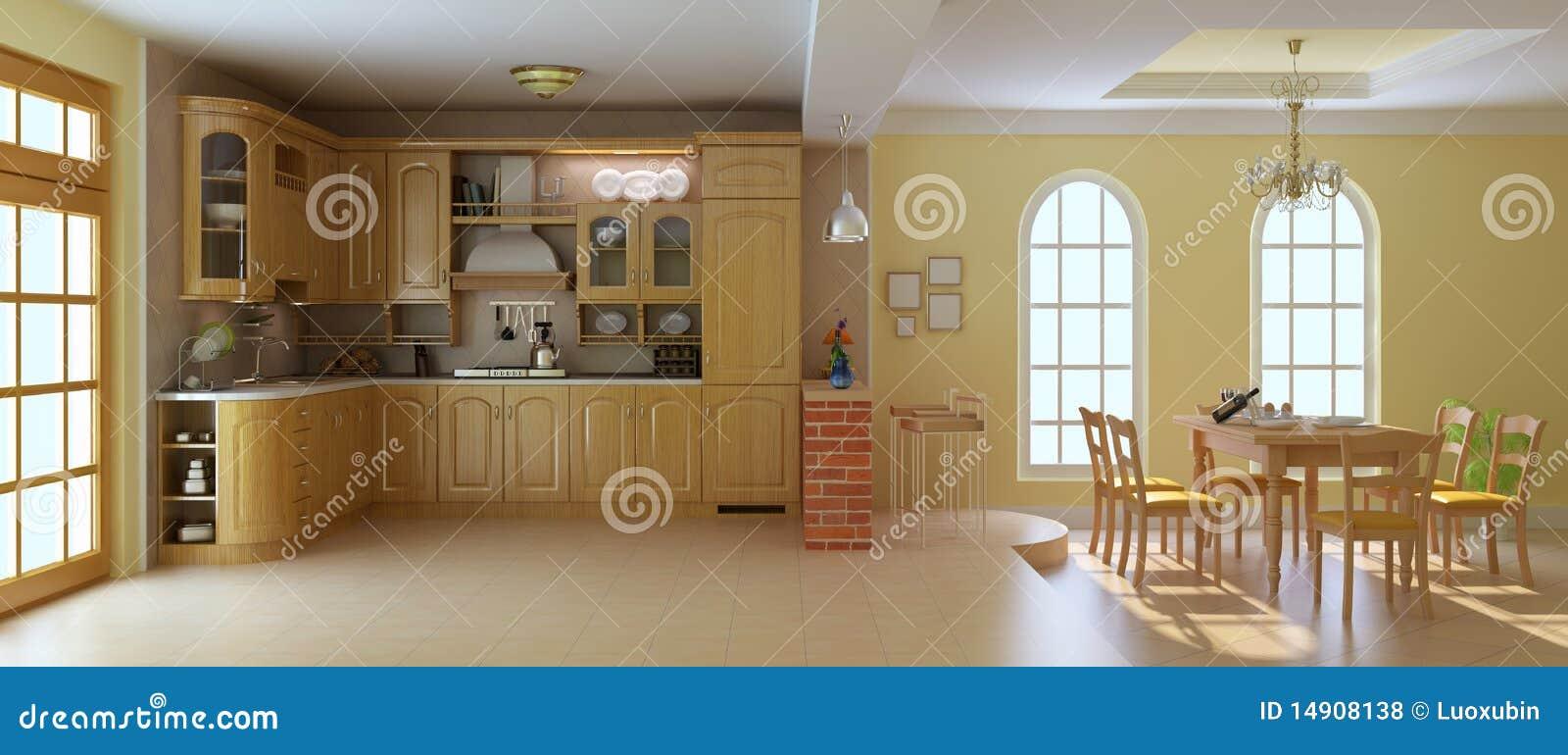 Cucina E Sala Da Pranzo Di Lusso Classiche Illustrazione di Stock ...