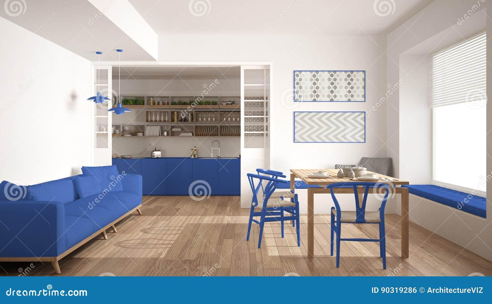 Sedie Blu Cucina : Cucina e salone minimalisti con il sofà la tavola e le sedie