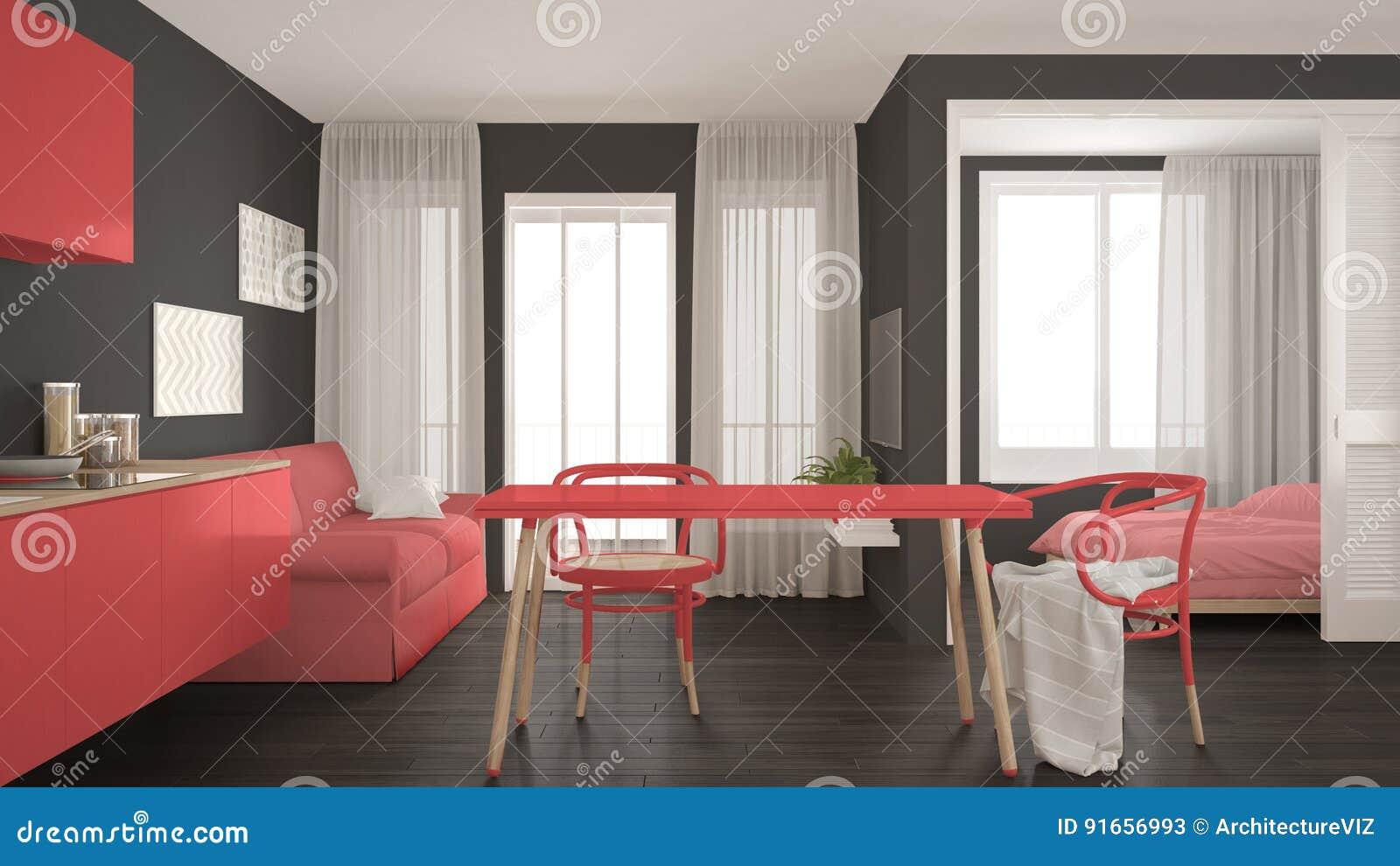 Cucina Soggiorno Camera Da Letto.Cucina E Salone Minimi Moderni Con La Camera Da Letto Nel