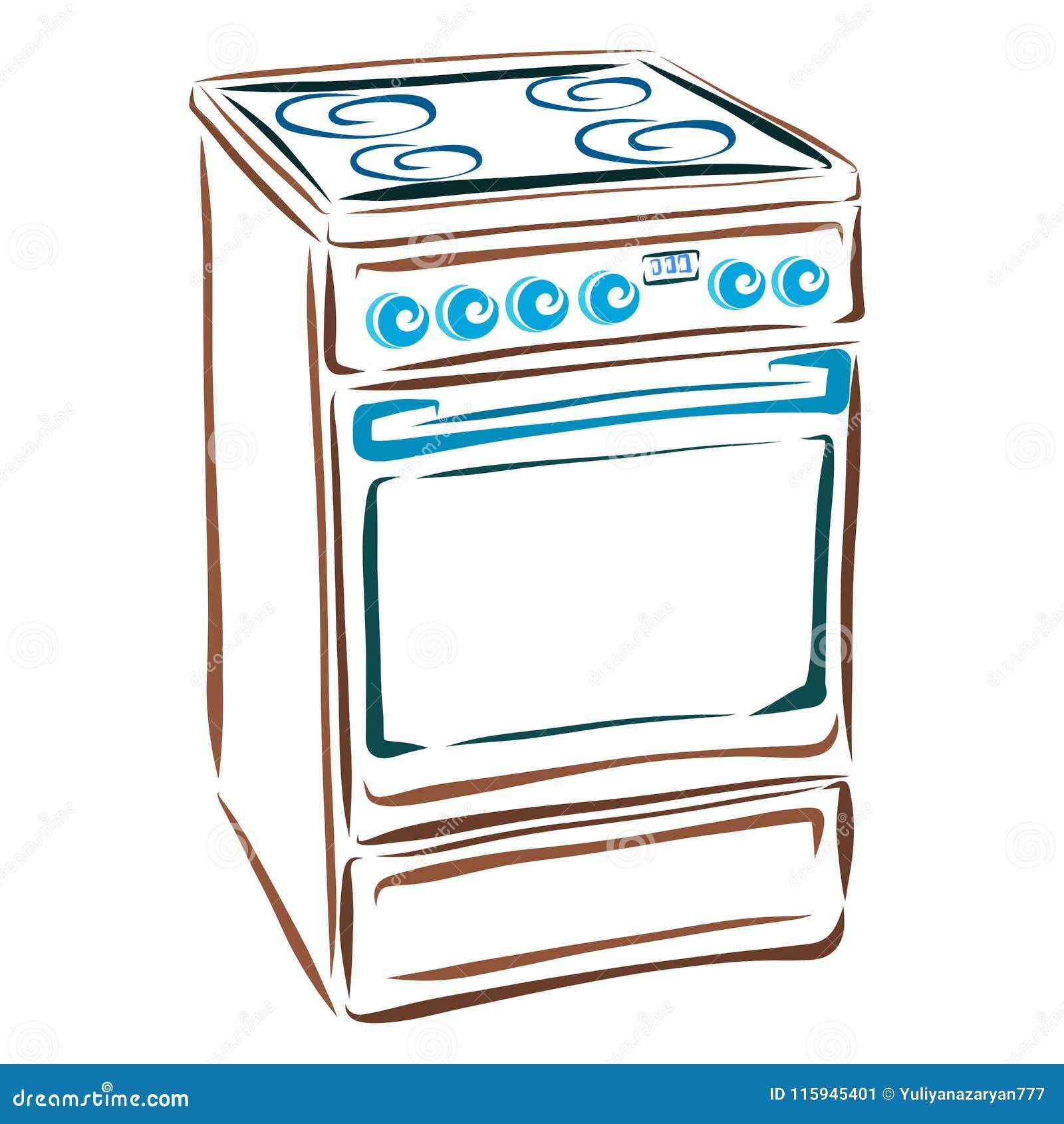 Cucina Elettrica, Elettrodomestici Per La Cucina Illustrazione di ...