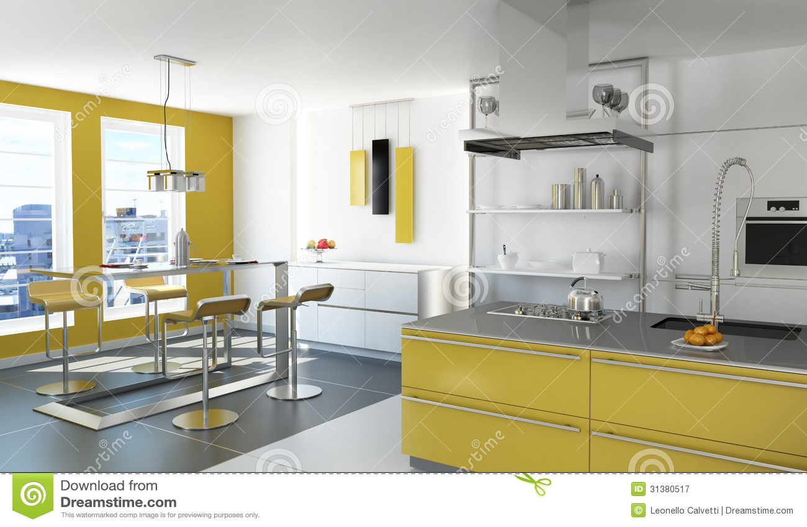 Cucina Gialla Moderna. Fotografia Stock Libera da Diritti - Immagine: 31380517