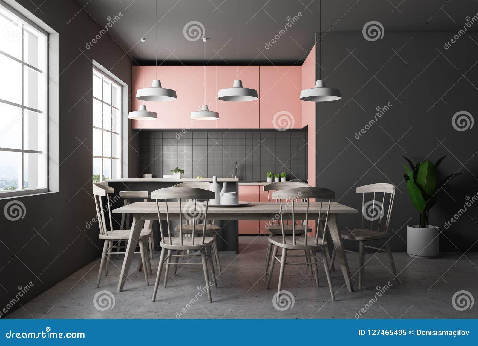 Cucina grigia con i controsoffitti rosa tavola delle mattonelle