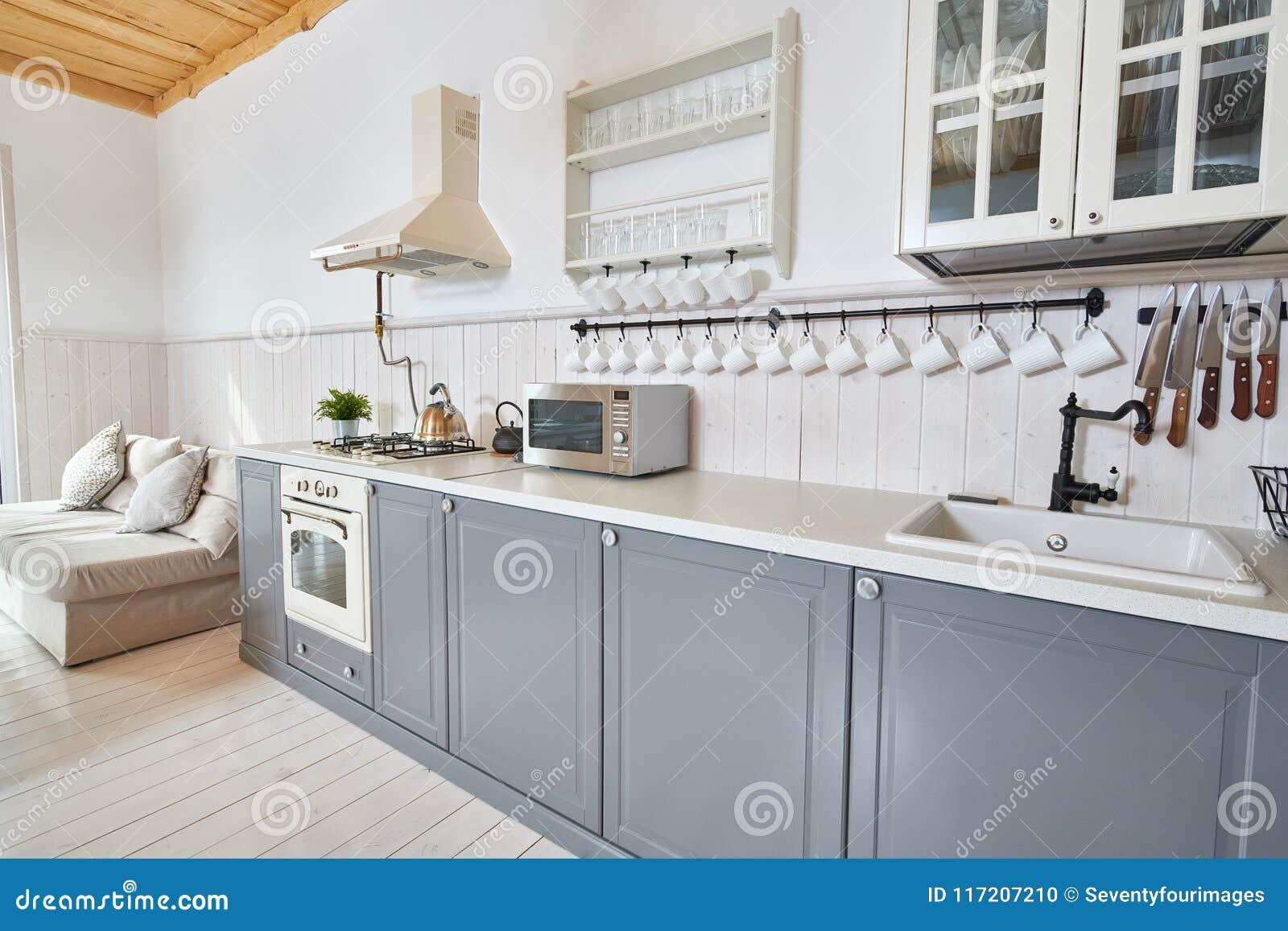 Cucina grigia e bianca fotografia stock immagine di interno 117207210 - Cucina moderna bianca e grigia ...