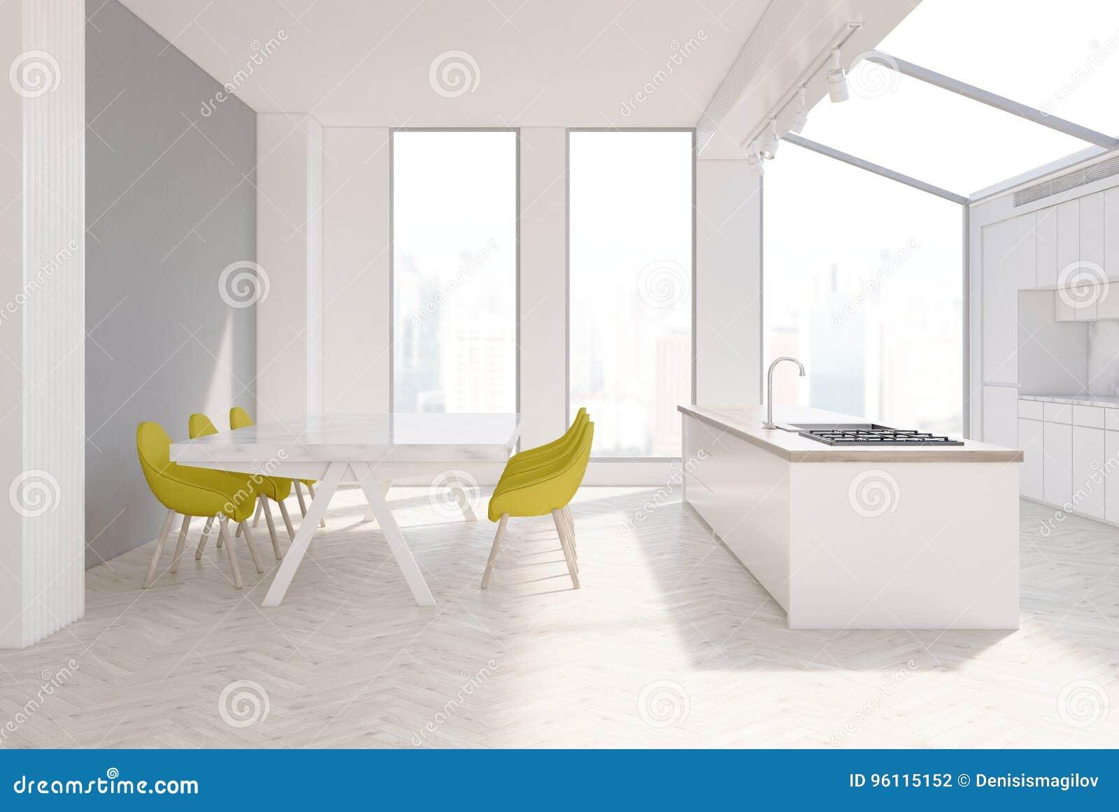 Sedie Gialle Da Cucina.Cucina Grigia Interna Sedie Gialle Illustrazione Di Stock