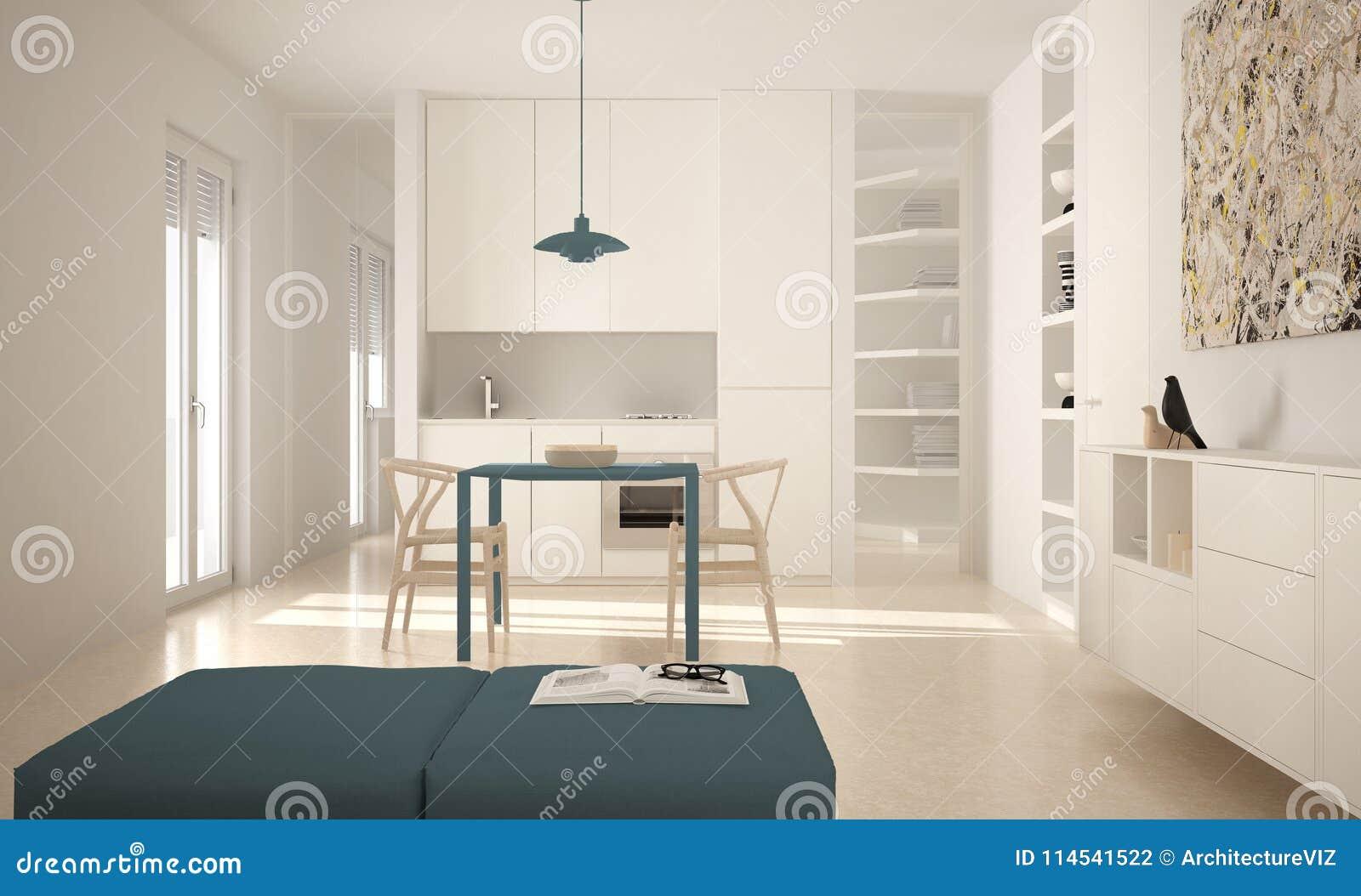 Sedie Blu Cucina : Cucina luminosa moderna minimalista con il tavolo da pranzo e