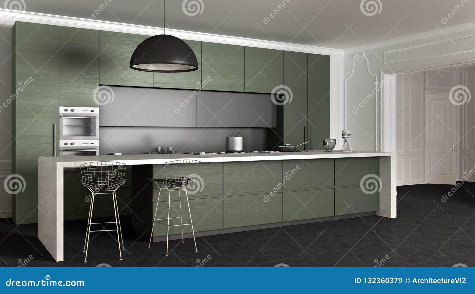 Cucina Minima Moderna Di Legno Grigio Scuro Con L\'isola, Gli ...