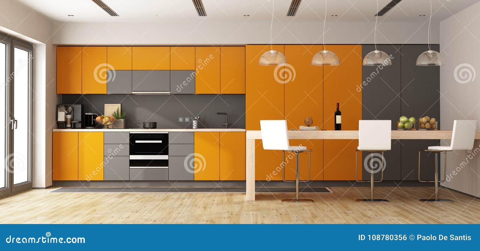Cucina Moderna Arancione.Cucina Moderna Arancio E Grigia Illustrazione Di Stock