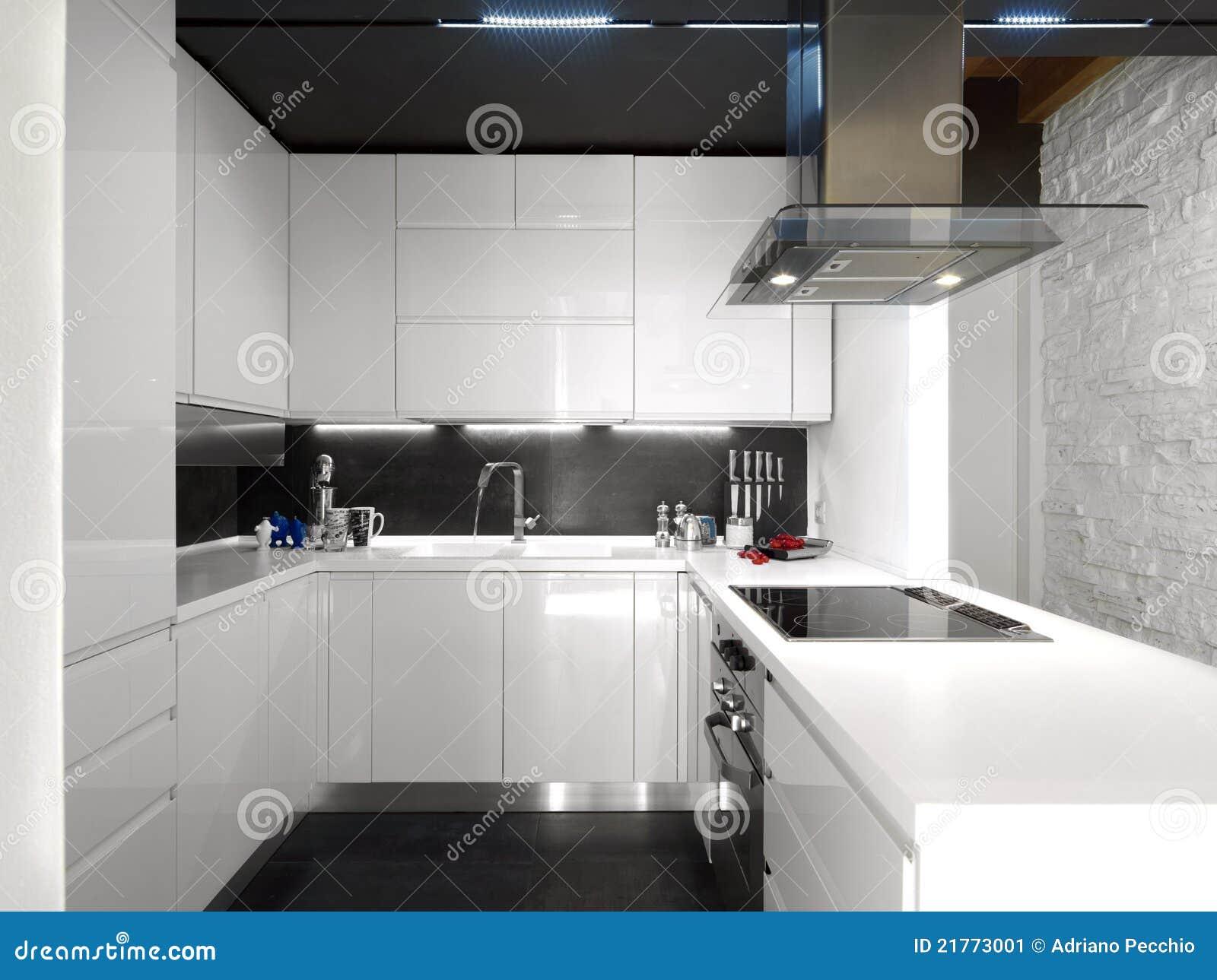 Cucina moderna bianca con gli apparecchi d 39 acciaio for Cucina moderna nera e bianca