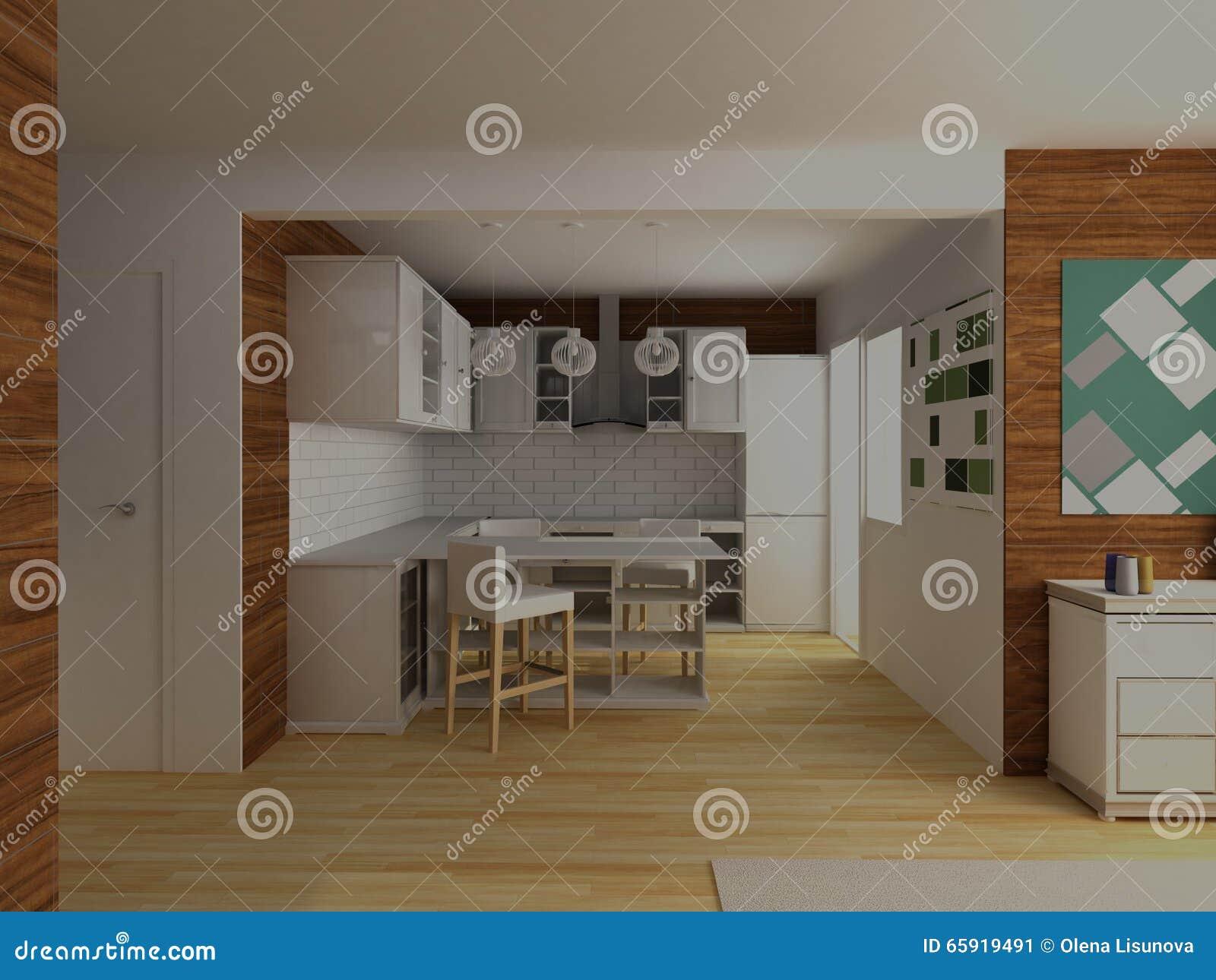 Cucina Moderna Bianca Con Il Pavimento Di Legno Duro Ed Il ...