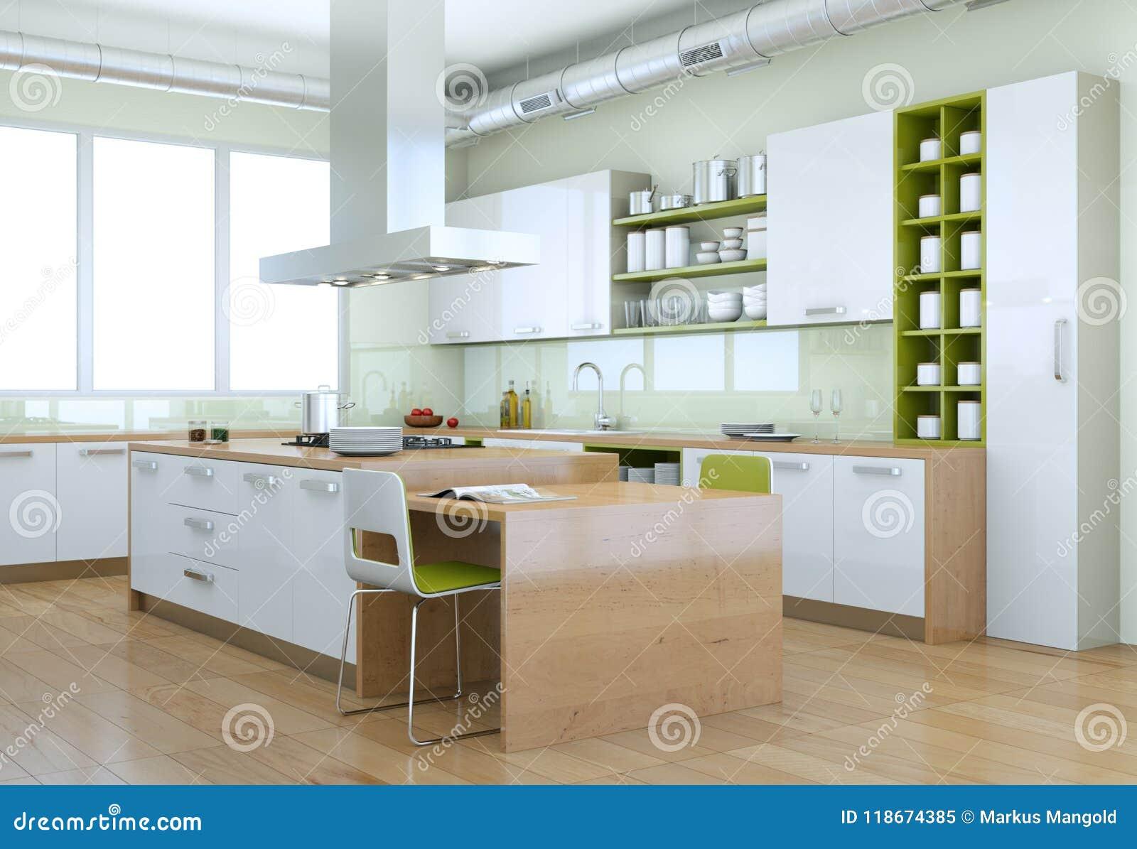 Cucina Moderna Bianca Con Interior Design Verde Degli ...