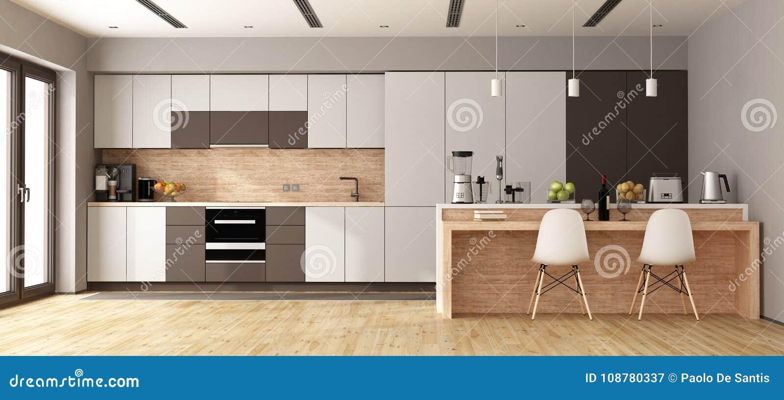 Cucina Moderna Bianca E Legno.Cucina Moderna Bianca E Marrone Illustrazione Di Stock