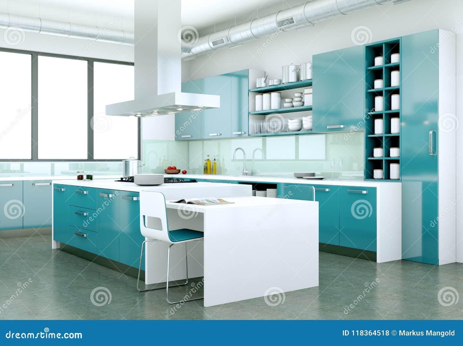 Cucina Moderna Blu.Cucina Moderna Blu In Una Casa Con Una Bella Progettazione