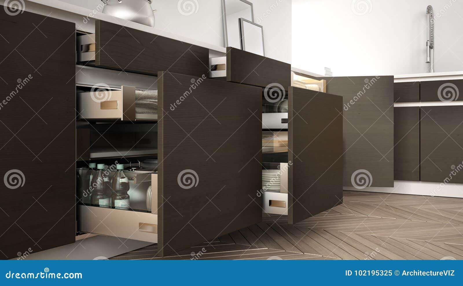 Cucina Moderna, Cassetti Di Legno Aperti Con Gli Accessori Dentro, S ...