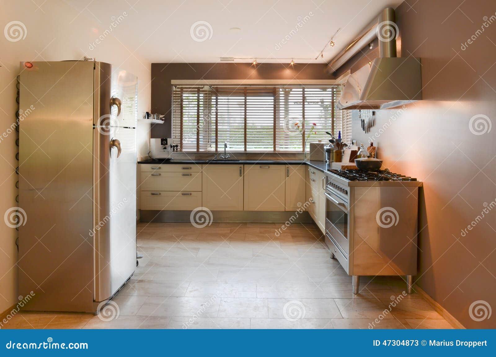 Cucina moderna con gli elementi inossidabili