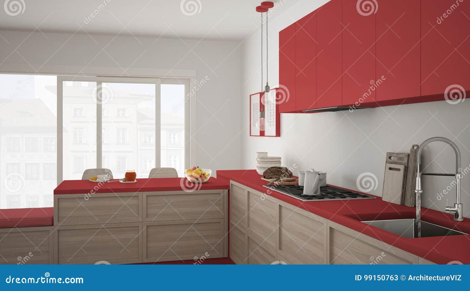 Cucina Moderna Con I Dettagli Ed Il Pavimento Di Parquet Di Legno ...