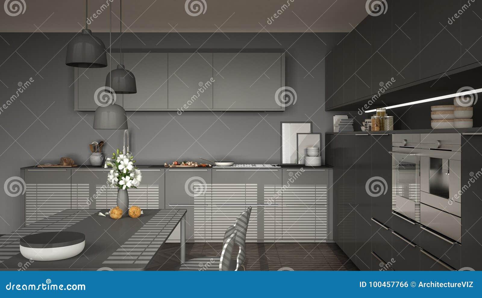 Pavimento Bianco E Grigio : Cucina moderna con la tavola e le sedie pavimento di parquet