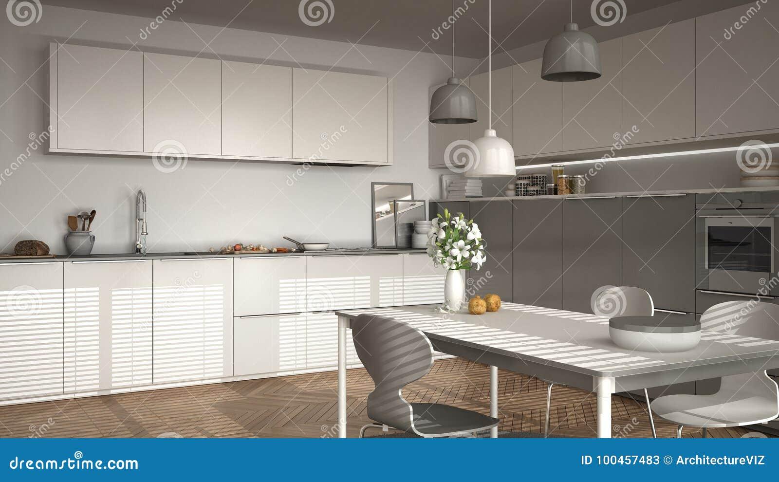 Cucina Moderna Con La Tavola E Sedie, Grandi Finestre E Herringbon ...