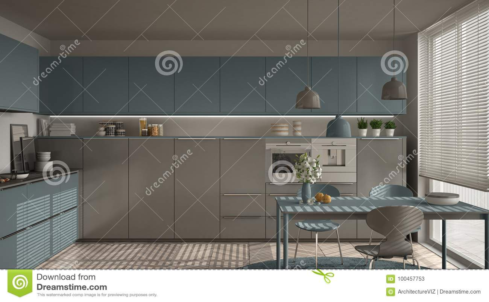 Sedie Blu Cucina : Cucina moderna con la tavola e sedie grandi finestre e herringbon