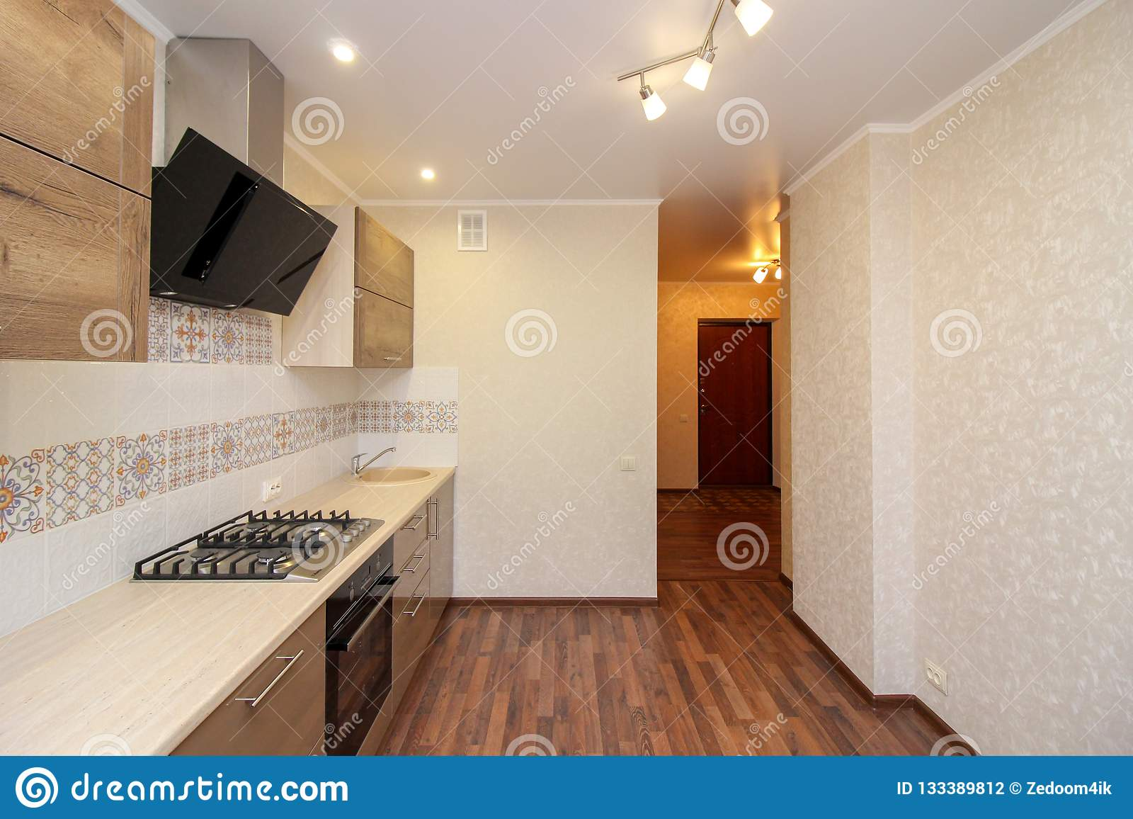Lampade Per Cucine Moderne.Cucina Moderna Con Le Lampade Moderne Fotografia Stock