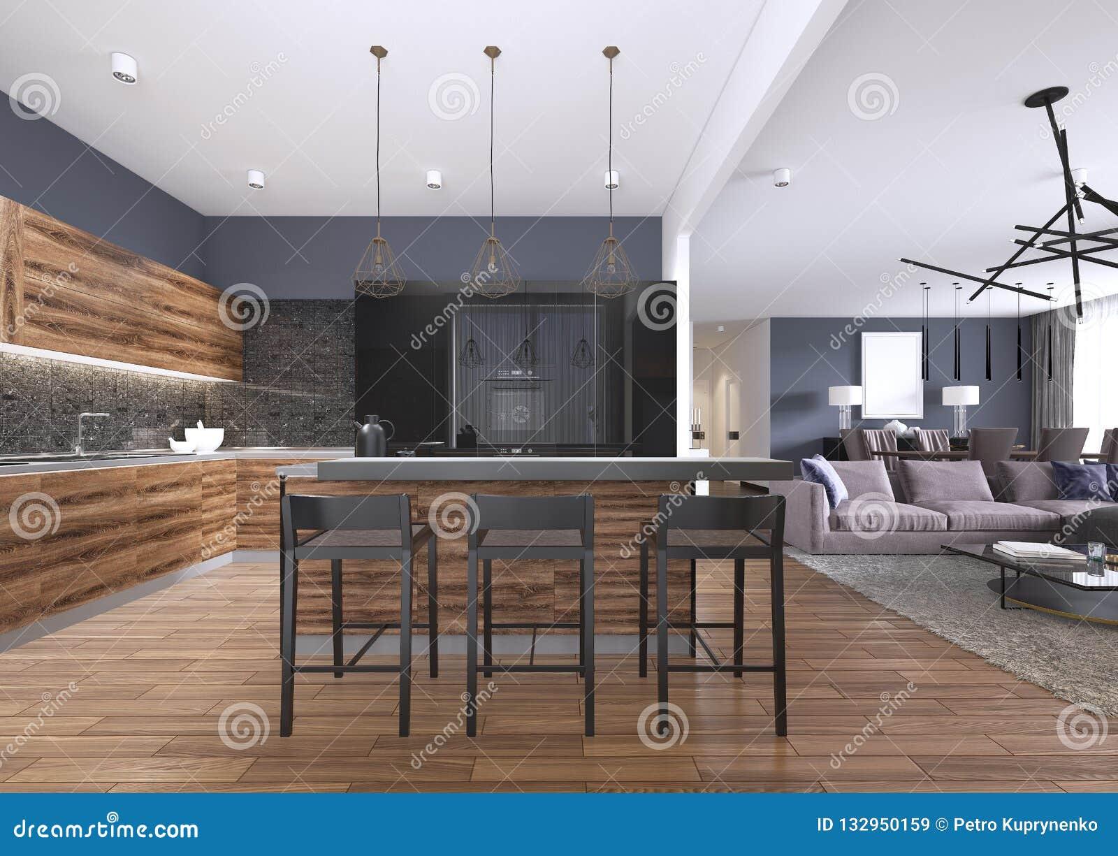 Cucina moderna con legno e lucidare gli armadi da cucina neri isola