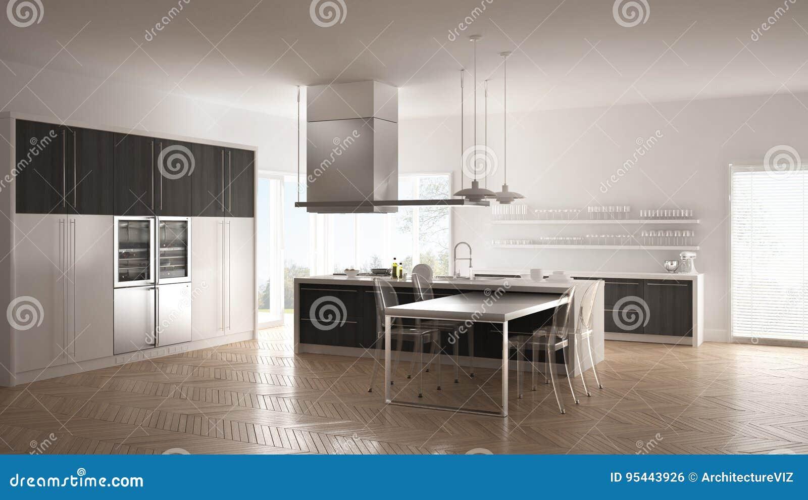 Pavimento Bianco E Grigio : Cucina moderna di minimalistic con la tavola le sedie ed il
