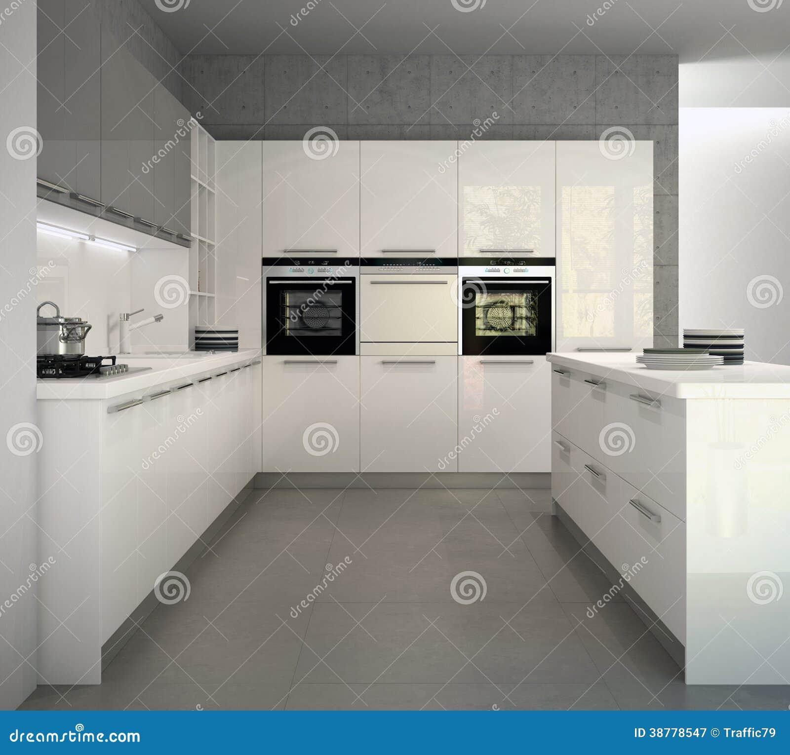 Cucina moderna lucida bianca in un interno illustrazione for Casa moderna bianca