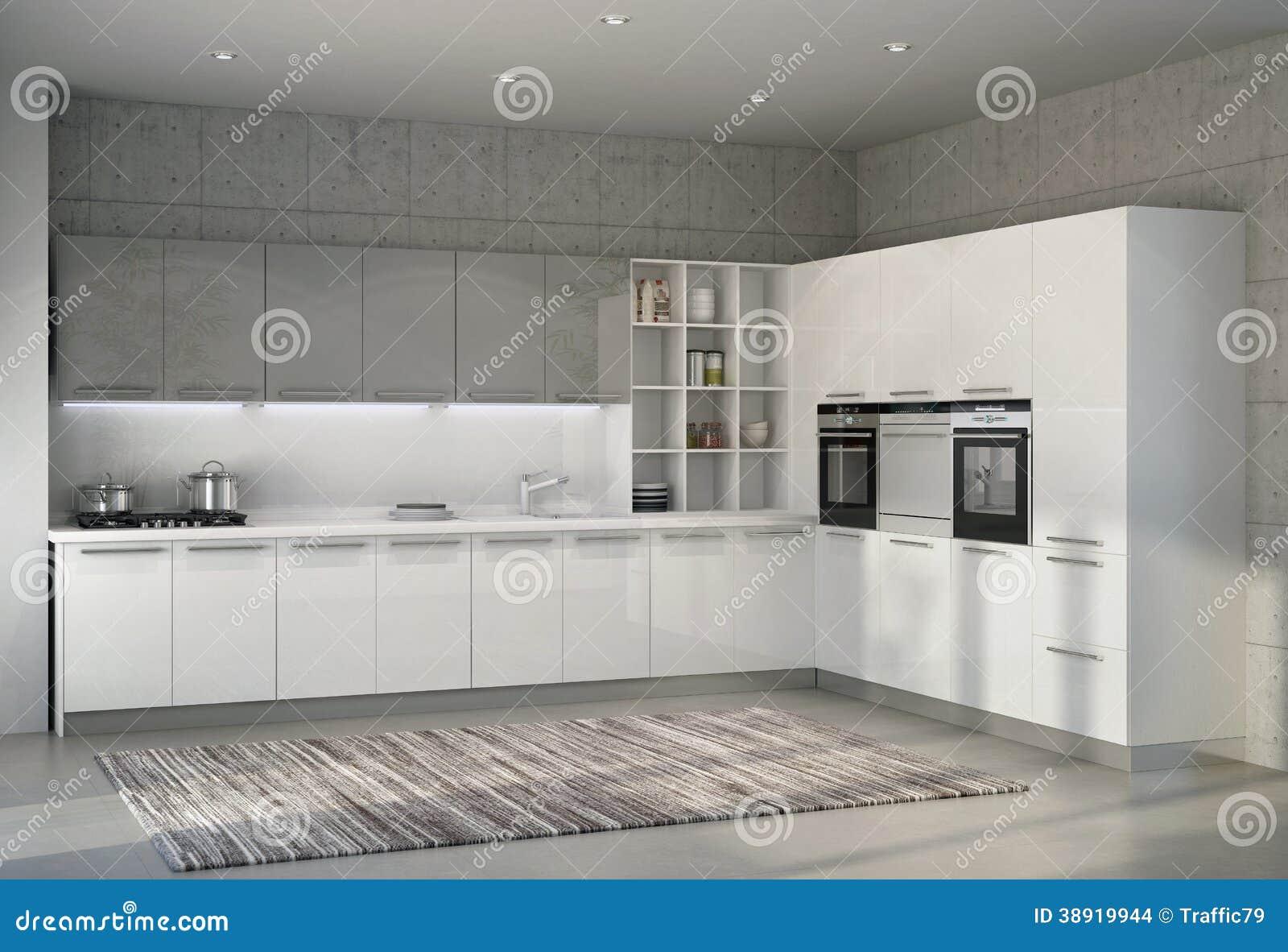 Cucina Moderna Lucida Bianca In Un Interno Illustrazione di Stock - Immagine: 38919944