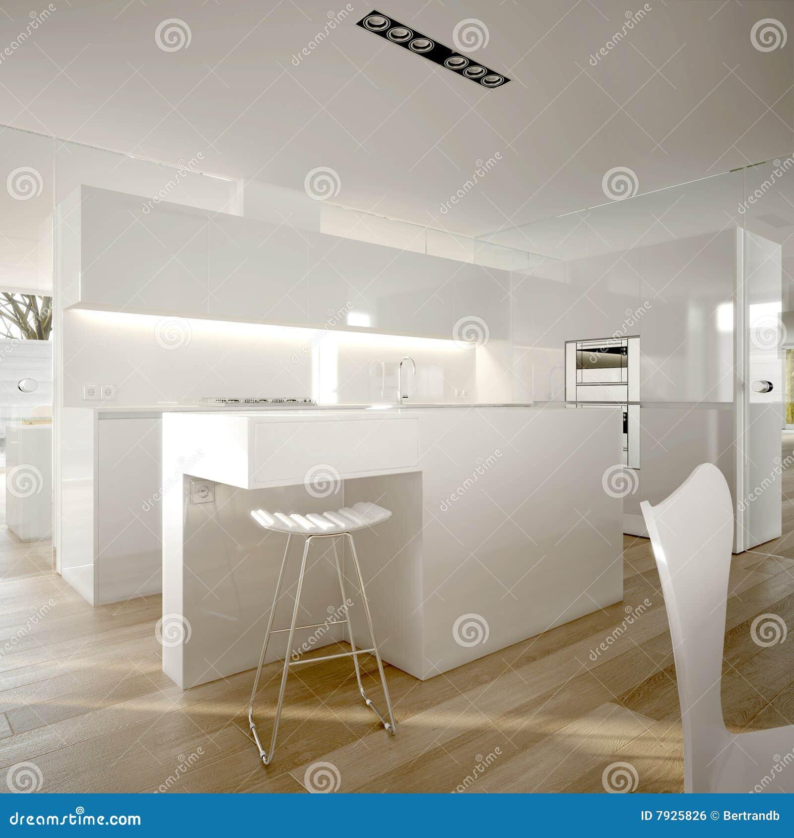 Cucina moderna con le feci di barra del progettista, il pavimento di ...
