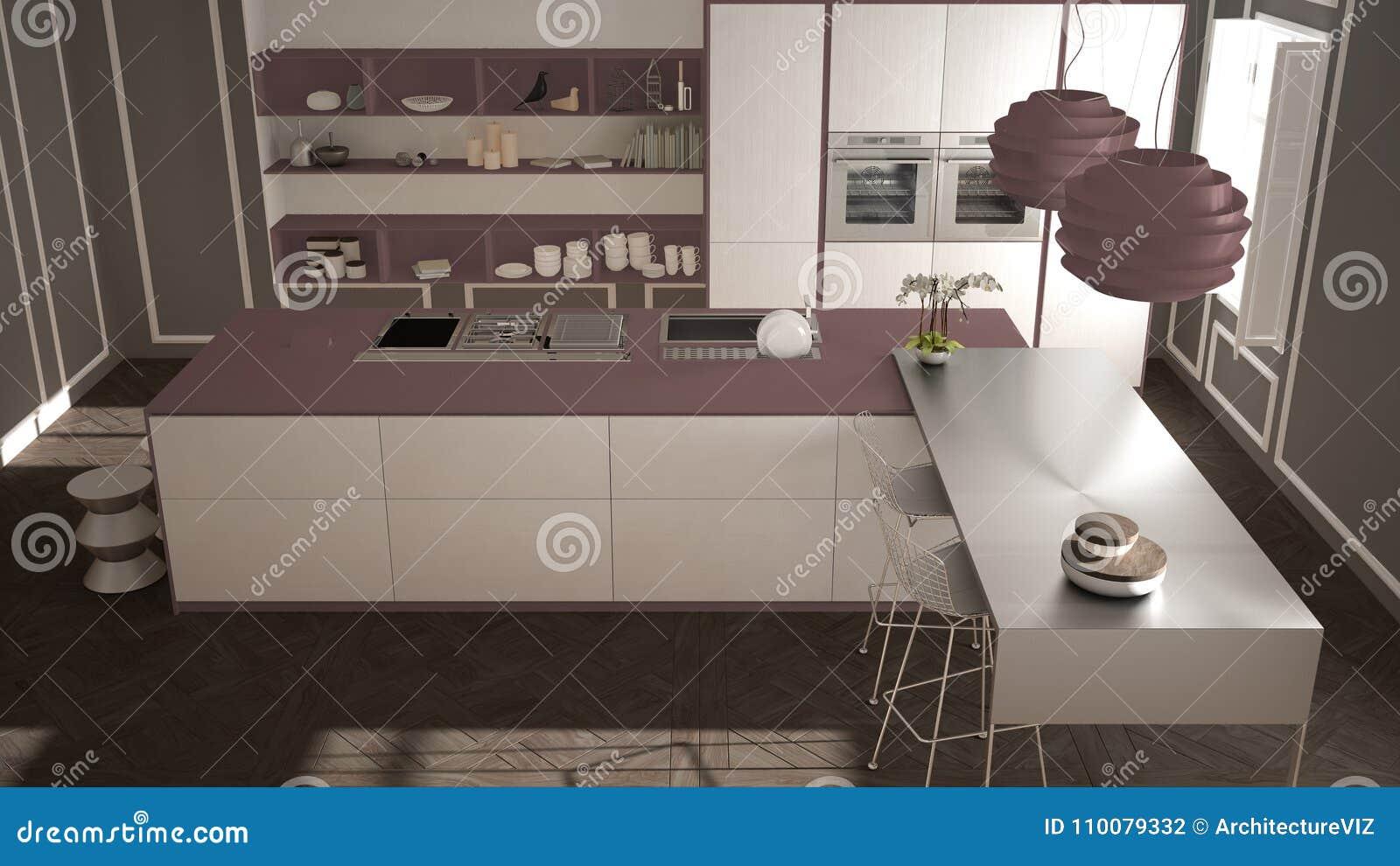 Cucina Moderna Nell\'interno Classico, Isola Con I Panchetti E Due ...