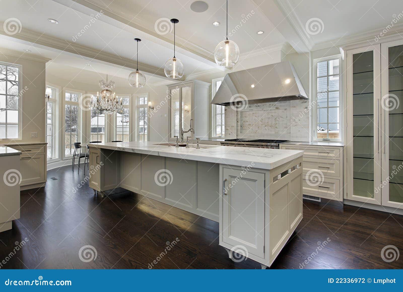 Cucina moderna nella casa della nuova costruzione