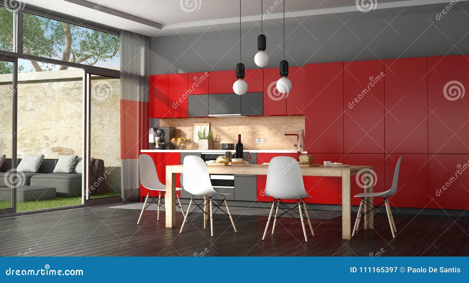 Cucina Moderna Nera E Rossa Illustrazione di Stock - Illustrazione ...